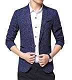 ZiXing Herren Klassischer Sakko Slim Fit Tweed Business Jacke Blau Medium