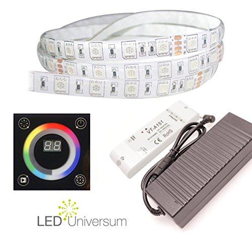 5Meter Tira RGB LED (60LED/M, IP65, 12V) con control de pared, radio controlador y fuente de alimentación