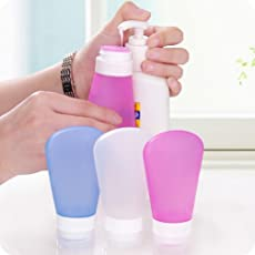 Orpio 2PCS Leak Proof Refillable Travel Empty Silicone Plastic Liquid Bottle for Lotion, Shampoo, Cosmetic, Toiletries and Body Wash, Assorted Colour