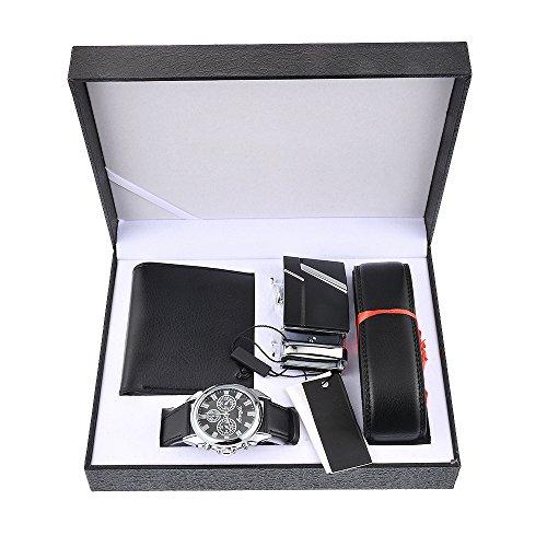 SEnjoyy Herren Schwarz Uhr Herren Geschenkset mit Armbanduhr Geldbörse Gürtel Geschenkset für Herren