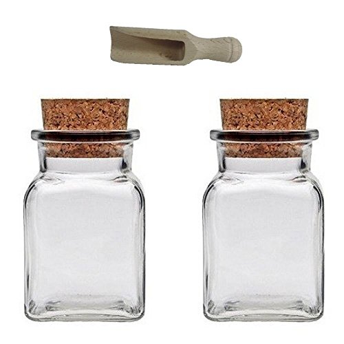 Viva Haushaltswaren - 2 x Gewürzglas eckig 150 ml, Glasdose mit Korkverschluss als Gewürzdose & Vorratsdose für Gewürze, Salz etc. verwendbar (inkl. kleiner Holzschaufel 7,5 cm)