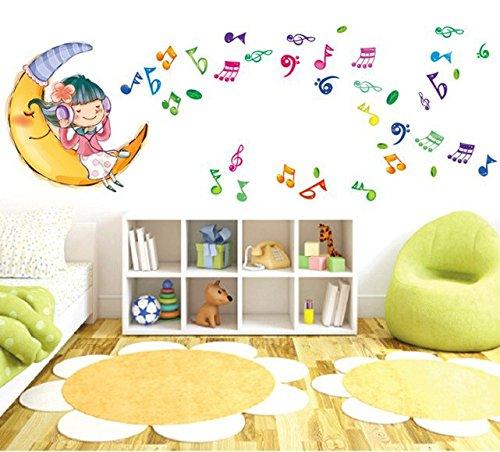 afzimmer Wohnzimmer Baby-kinderzimmer-Musik Klassenzimmer-Layout Moon Girl Note Wandaufkleber Schlicht Elegant Warm Romantisch Komfortables PVC ()
