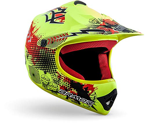 "ARMOR · AKC-49 ""Limited Yellow"" (Gelb) · Kinder-Cross Helm · Kinder Enduro Moto-Cross Off-Road Motorrad Sport · DOT certified · Click-n-Secure™ Clip · Tragetasche · S (53-54cm)"