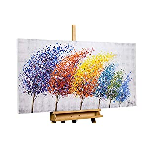 KunstLoft® Painting 'Wind of Change' 55x28inches | Large, original handmade canvas painting | trees forest abstract Multi-coloured | Modern art acrylic mural on canvas