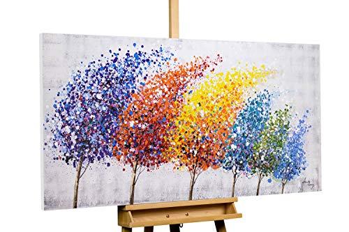 KunstLoft® Acryl Gemälde 'Wind of Change' 140x70cm | original handgemalte Leinwand Bilder XXL | Bäume Wald abstrakt Bunt Lila | Wandbild Acrylbild Moderne Kunst einteilig mit Rahmen - Wald Leinwand Kunst