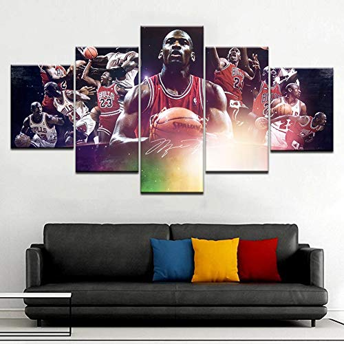 XLST 5 Panel Basketball Stern Michael Jordan hd leinwand malerei Bild wandkunst Poster für das Leben,B,30x50x230x70x230x80x1 -