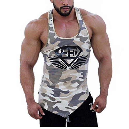 Camisetas de Tirantes,DOTBUY Hombres Sin Mangas Casual Deportivo Muscular Verano Camisetas Sin Mangas (L, Khaki Camo)