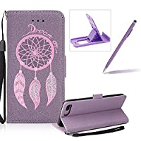 Leather Case for iPhone 7 Plus,Strap Flip Wallet Cover for iPhone 7 Plus,Herzzer Luxury Stylish Shining Bling Glitter Dreamcatcher Design Purple PU Leather Stand Card Holder and ID Slot Money Pouch Magnetic Clasp Slim Flip Protective Skin Case Cover for i