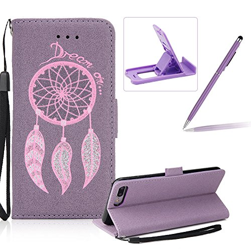 Cover per Apple iPhone 6 Plus/ 6S Plus Custodia,Herzzer Attraente sparkle bling glitter Rosa Campanula Dreamcatcher Perline colorate Sacchetto in Pelle PU Leather Design Book Wallet Cuoio style Shell, Viola