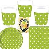 Sommerparty Party-Set 52tlg.Green Dots Grüne Punkte Teller Becher Servietten für 16 Personen