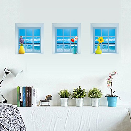 3d estilo de la ventana mar paisaje de adhesivo mural casa vinilo extraíble papel pintado de salón dormitorio cocina arte imagen PVC Murales de ventana puerta decoración + 3d rana coche adhesivo regalo