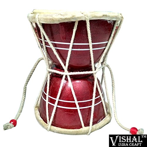 VISHAL INDIA MART HANDMADE WOODEN DAMROO FOR HOME OFFICE TEMPLE, RED COLOR DAMRU - GIFT ITEM  available at amazon for Rs.269