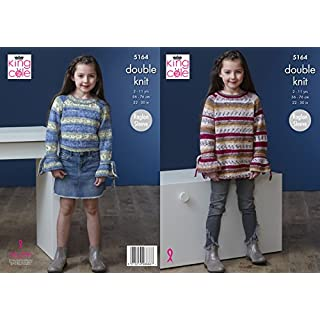 King Cole Childrens Double Knitting Pattern Girls Raglan Sleeve Sweater & Dress (5164)