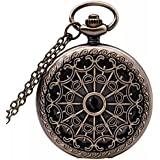 Nice Steampunk Retro Antique Bronze Pocket Watch Quartz Clock Necklace Pendant
