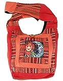 Guru-Shop Schultertasche, Hippie Tasche, Goa Schulterbeutel mit Sonne, Mond - Rostorange,...