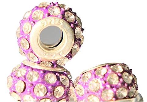 rkc exquis cristal perles charms pour bracelets Choix de Couleurs–1–Lot de 10Charms * * * * * * * * * * * * * * * * avec perles/pour bracelets Charms–Compatible avec les bracelets Pandora Biagi Troll Chamilia Bracelet Serpent Chaînes colliers, verre, violet, 3 x Purple Beads