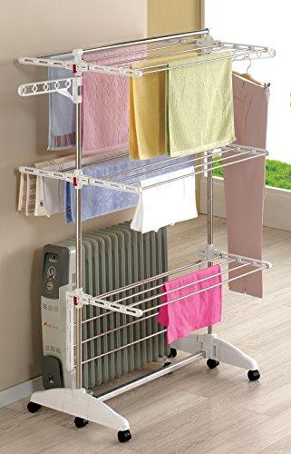 One Click Luxus Wäscheständer mit 3 Ebenen, mobiler Wäscheturm mit ca. 21m Wäscheleine