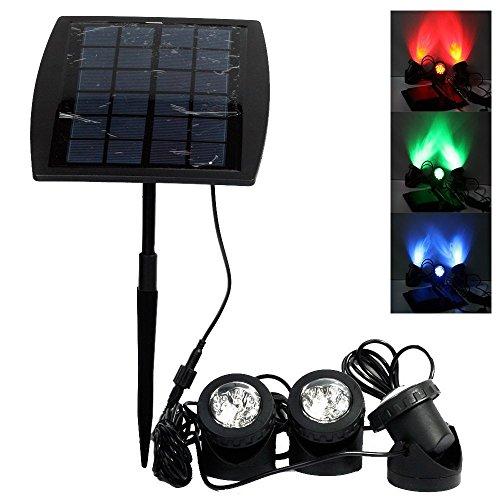Projecteurs LED Solaires imperméables 3 GRB Lampes 18 LED, Ankway Eéglable IP68 Étanche Lampe Solaire Lumières Solaires pour Extérieur Jardin Piscine Étang Cour Mur Route-Auto ON/OFF (Rouge Vert Bleu)