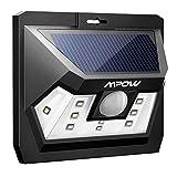 Mpow Luz Solar con Sensor de Movimiento, Lámpara Solar Impermeable de Exterior, Foco Solar LED con Iluminacion Continua para Jardín, Patio, Pared, Porche, Garaje, Terraza Exteriores- Versión Actualizado