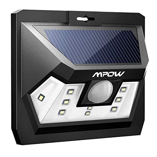 Mpow Luz Solar con Sensor de Movimiento, Lámpara Solar Impermeable de Exterior, Foco Solar LED con Iluminacion Continua para Jardín, Patio, Pared, Porche, Garaje, Terraza Exteriores
