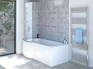 Badewanne SKALI Links + Duschkabine + Wannenschürze + Ablaufgarnitur + Wannenfüße