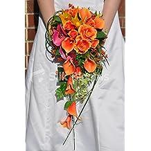 Tropical Artificial Fresh Touch rosa naranja cascada ramo de novia w/Calla Lilies, Heliconia y rosa orquídeas