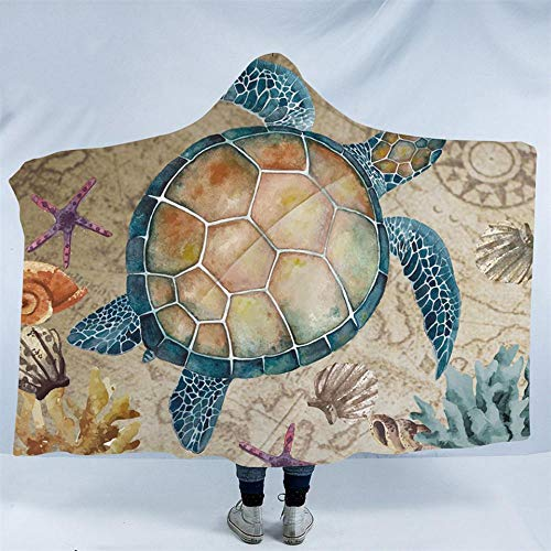 WWTZ Sea Turtle Hooded Blanket Karte Schildkröte Sherpa Fleece tragbare Decke Nautical Starfish Flanell Throw Blanket Turtle Fur Fleece