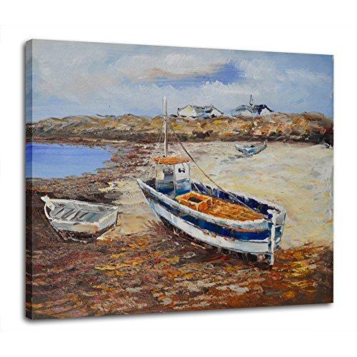 Raybre Art® 50 * 60 cm 100% Dipinto a Mano - Quadri su Tela Pittura ad Olio Barca a Vela Paesaggio sull