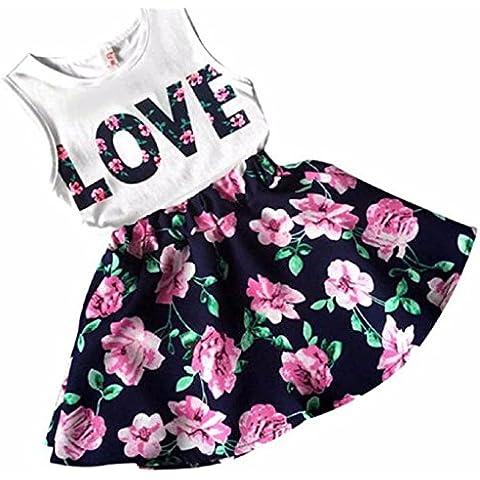 Conjuntos de top y falda Koly - Mono Niñas, Body para bebés, top y Flor falda (3-4Y)