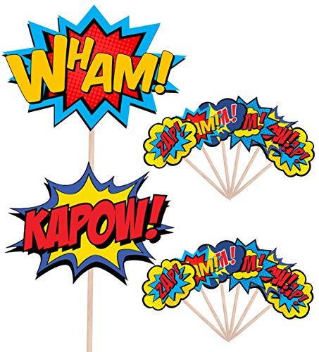51uFgOLyGvL - AK Giftshop Call out Speak - Burbujas de Dibujos Animados de superhéroes para cumpleaños, Eventos, Comida para Fiestas, Cupcakes, Palillos y Decoraciones para Banderas de Alimentos (Pack de 14)