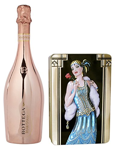 Price comparison product image Churchill's Confectionery Lemon and Ginger Biscuits tin box with Bottega Rose Sparkling Wine
