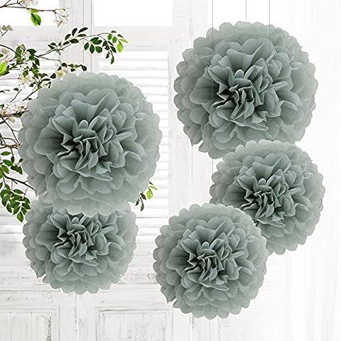 5 PCS Mixte Pompons en Papier de Soie, Boules Fleurs Papier DIY Décoration de Baby Shower Noce Mariage Fête Anniversaire Chamber - Gris 25cm&35cm