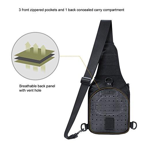 OneTigris 1000D Taktische Molle Umhängetasche EDC Brusttasche für Outdoor-Aktivitäten (Camo) Schwarz