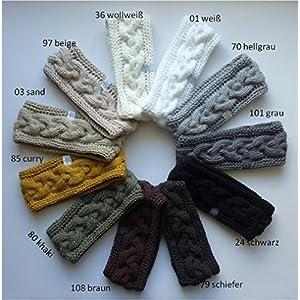 1 Stirnband Baumwolle mit Zopfmuster in weiß, grau, schwarz, braun oder beige Tönen erhältlich, auf Wunsch mit Fleece gefüttert