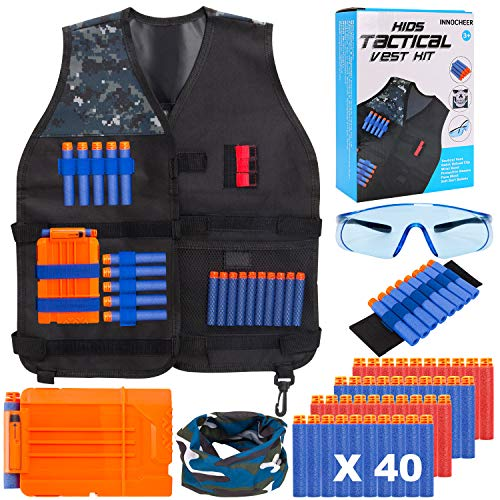 INNOCHEER Taktische Weste Jacke Set für Nerf Gun Nerf N-Strike Elite Nerf Zubehör Set mit 40 er Darts, Nerf Brille, schnell nachladen Clips, Maske, Armbände für Kinder 3-8