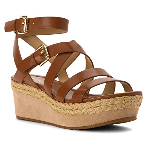 Michael Michael Kors Jocelyn Mid Wedge Leder Keilabsätze Sandale Luggage