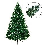 BB SPORT Christbaum künstlicher Weihnachtsbaum Tannenbaum in Verschiedenen Größen und Farben inkl. Standfuß künstliche Tanne mit Klappsystem, Höhe:210 cm (1.160 Spitzen), Farbe:Mittelgrün-Puderzucker