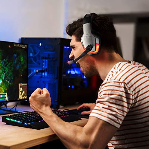 Gaming Headset für PS4 Xbox One PC Controller, DIZA100 V4 Gaming Kopfhörer mit Aluminiumgehäuse, Mikrofon, LED Light Bass Surround für Computer Laptop Mac Nintendo Switch Spiele