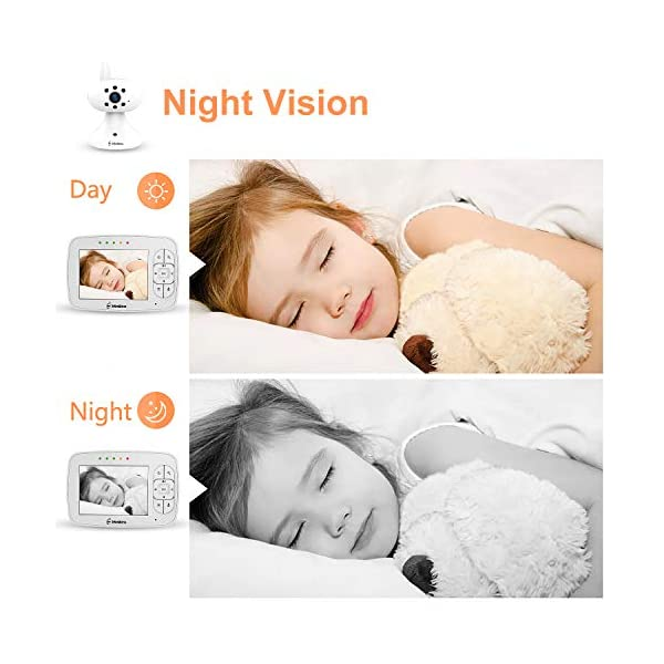 """MiniBoss Baby Monitor with Camera Video Audio Monitor 3.5"""" LCD Screen Temperature Sensor Night Vision Lullaby Two-Way Talk  【Wireless & Secure Connection】The baby monitor equipped with 2.4GHz digital frequency provides security and interference-free connection without any network access. 【Upgraded Camera & VOX Function】The video baby monitor offer high definition and stable audio video streaming to last 7 hours per fully charged. It covers a long distance transmission range of up to 960 feet, and expandable up to 4 cameras for simultaneous monitoring. 【Two-way Talk & Lullabies】The audio baby monitor has advanced built-in microphone and speaker for clear two-way audio conversations between the wireless monitor and camera sides. Allows you to talk back promptly or play lullabies to soothe baby when she is crying. 5"""