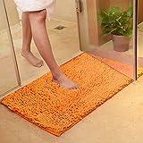 Rutschfeste Badematte Badteppich aus Mikrofaser Chenille Teppich für Badezimmer size 40x60 cm (Orange)