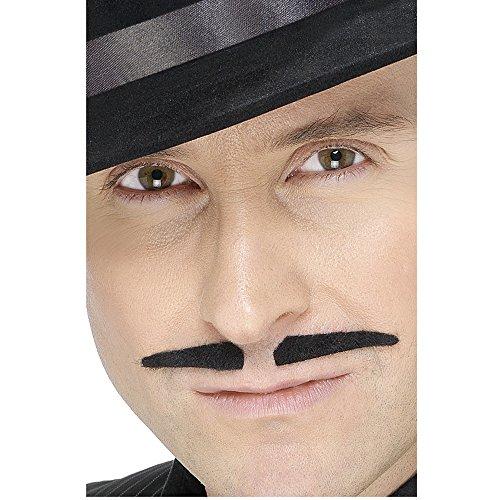 Schwarzer Ganoven-Schnurrbart Selbstklebend, One Size