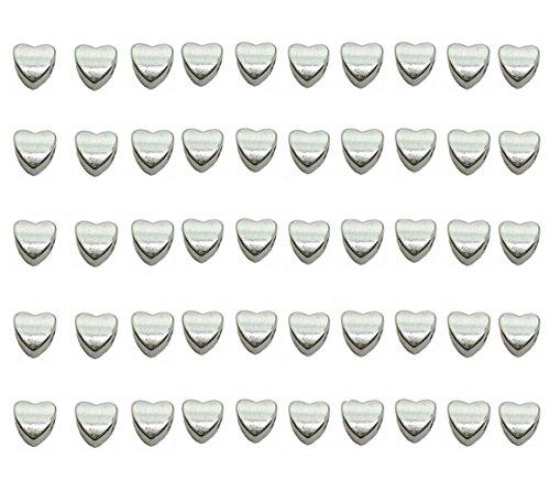Für Mardi Gras Perlen (qtmy 50PCS 4mm Loch macroporous Herz Form Spacer Perlen für Schmuckherstellung Project in)
