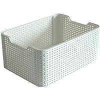 Curver 6 Litre Small Plastic Style Box, Vintage White