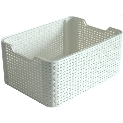 Curver Style Medium Rectangular Storage Basket, Vintage White, 18 Litre