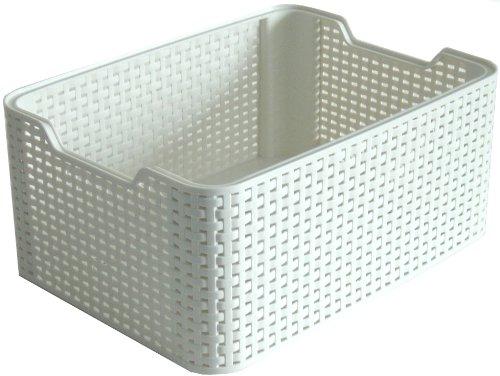 Curver Style Medium Rectangular Storage Basket, Vintage White, 18 Litre