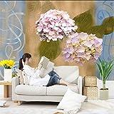 Kuamai Benutzerdefinierte 3D Blume Wandmalereien Hortensie Geprägte Tapeten Freundliche Geprägte Tv Hintergrund Wohnzimmer Küche Schlafzimmer Studie-280X200Cm