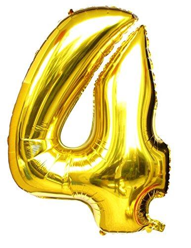 ir-gefüllt & Helium Gold Mylar Ballons für Geburtstags-Party-Zubehör (Zahl 4) (Rosa 40th Geburtstag Dekorationen)