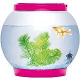 Sentik® 5litros rosa luz de cristal redondo y brillante pecera tanque acuario de escritorio LED