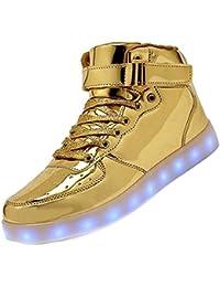 KEALUX Brillante Notte USB Caricare 7 Colori Allacciare Accendere LED  Scarpe Alto Top Sneaker di Sport con Telecomando per Bambini… a064b77cd9f
