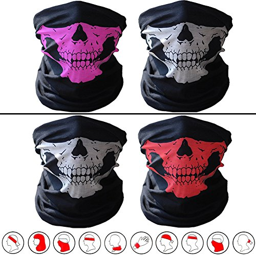 ECOMBOS 2PCS Seamless Skull Face Mask Bandana Cover Soft Polyester Scarf Neck Motorcycle Polyester Tube Mask